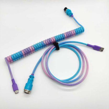 Custom blue pink and purple usb c aviator cable